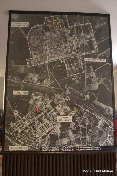 アウシュヴィッツ・ビルケナウ強制収容所の航空写真