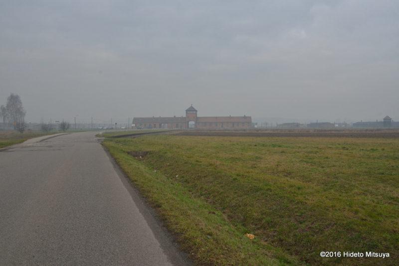 遠くに見えるビルケナウ第二強制収容所
