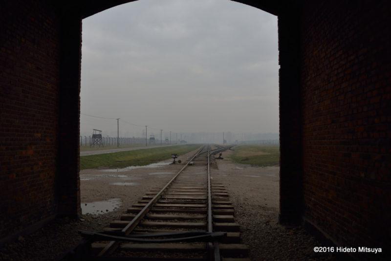 入り口から見たビルケナウ第二強制収容所内の様子