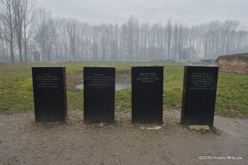 ビルケナウ第二強制収容所クレマトリウム(ガス室)隣の慰霊碑