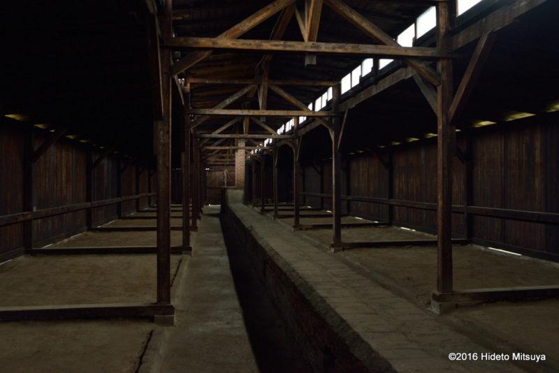 ビルケナウ第二強制収容所内の木製のバラック内部の様子