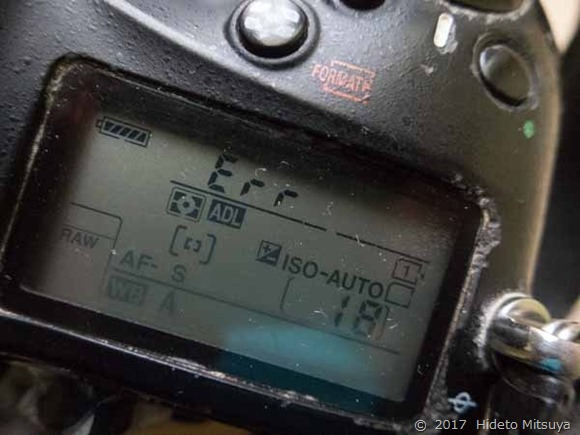 エラー表示する一眼レフカメラ