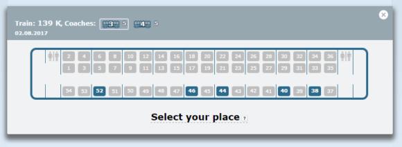 車両、座席指定画面