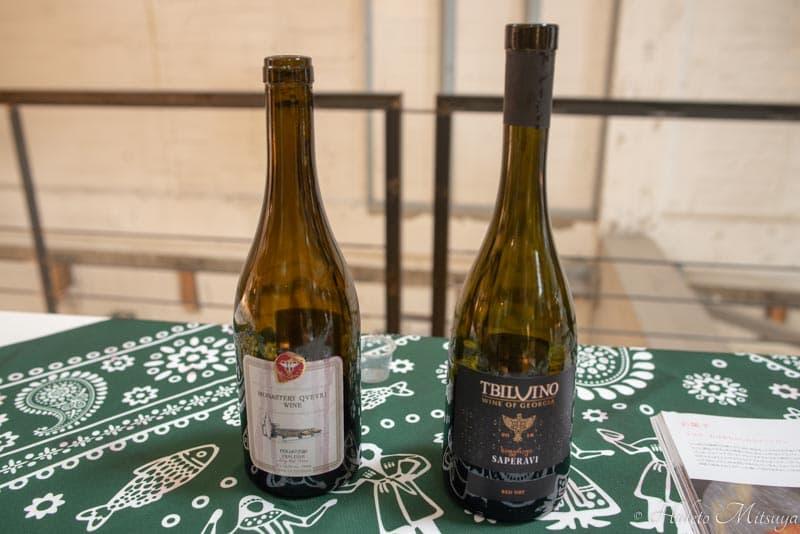ジョージアワイン展での試飲用赤ワイン