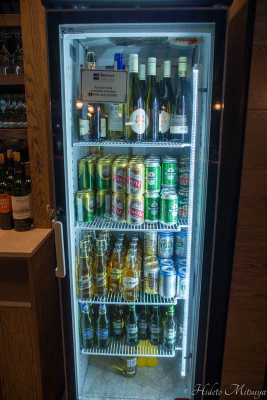 ケープタウン国際空港のBIDVEST PREMIER LOUNGEのビール・サイダー類