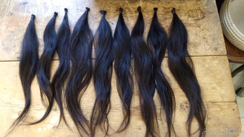 ヘアドネーションでカットされた髪の束