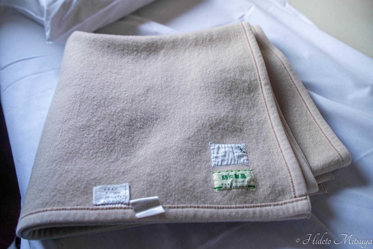 ブルートレインたらぎで使われている毛布